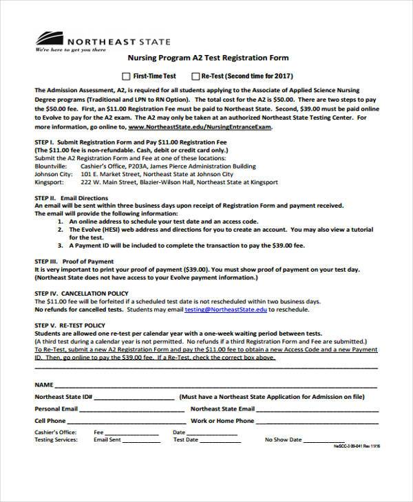 nursing test registration form