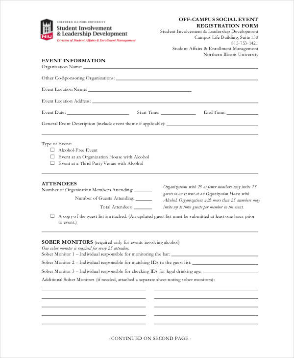 off campus event registration form