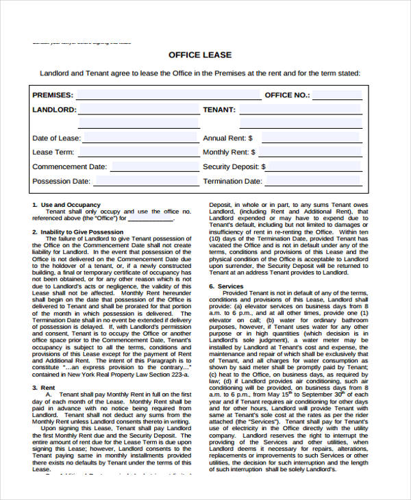 Office Lease Agreement In PDF