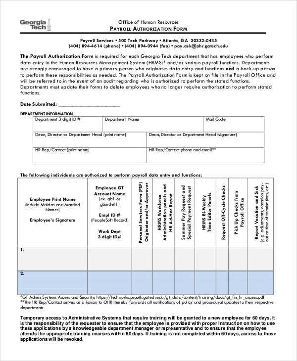 office payroll authorization form sample