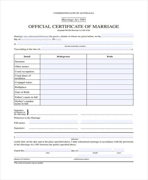 official marriage contract form