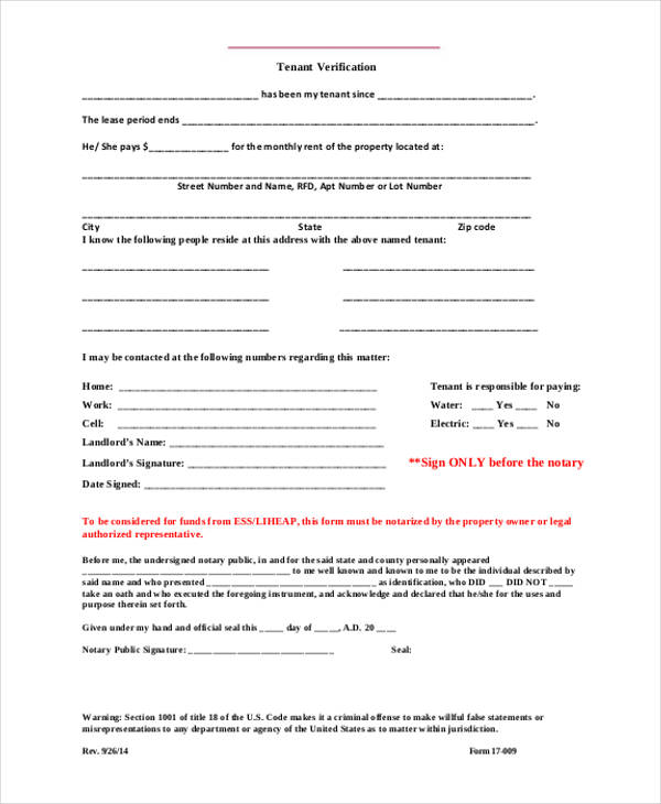 official tenant verification form
