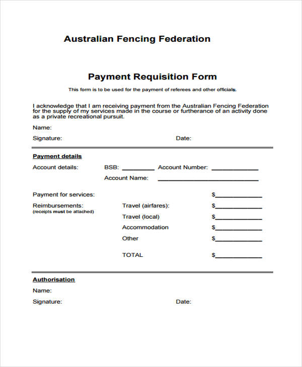officiating payment requisition form