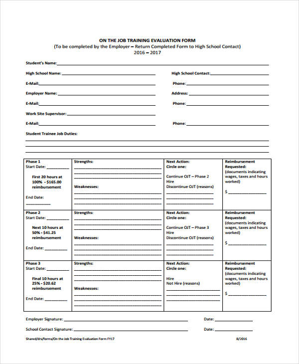 Sample Training Evaluation Form – On the Job Training Evaluation Form