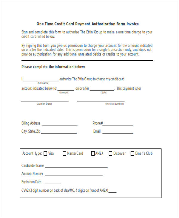 one time credit card invoice payment authorization form