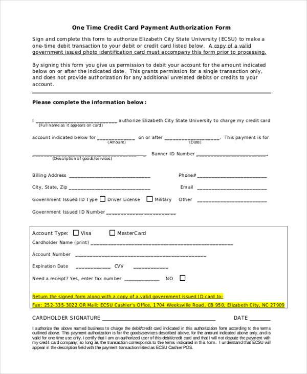 one time payment credit card authorization form