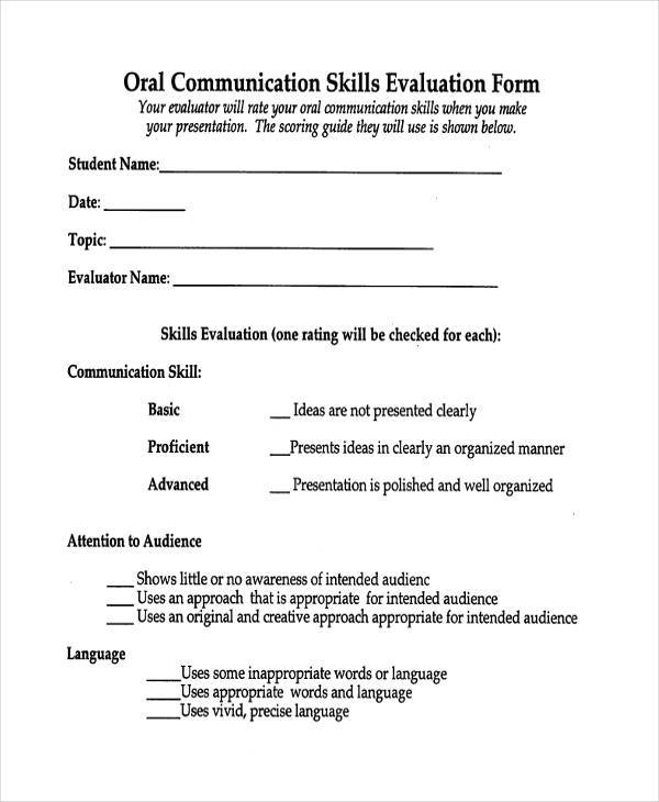 oral communication evaluation form