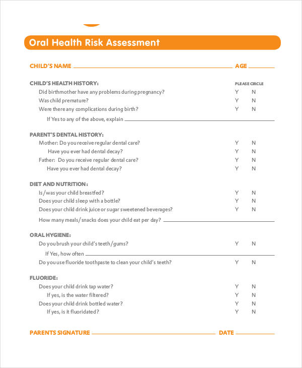 oral health risk assessment form
