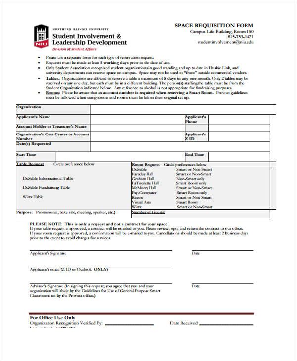 organization event space requisition form