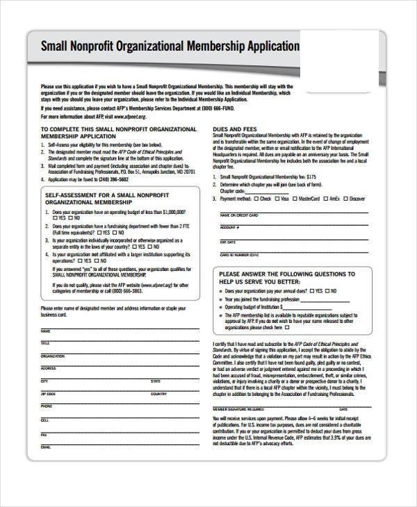 organizational membership application form