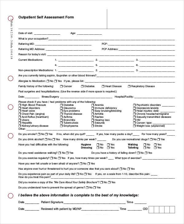 out patient self assessment form