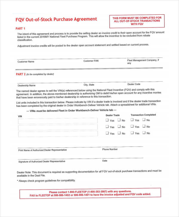 Purchase Agreement Form In Pdf