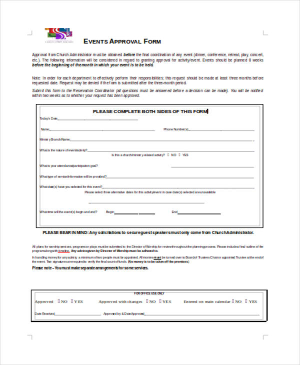 outdoor event approval form