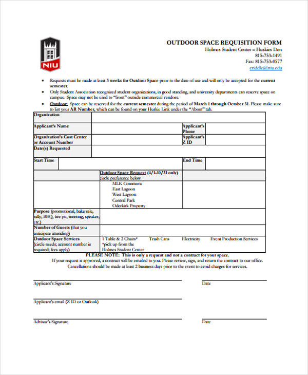 outdoor space requisition form