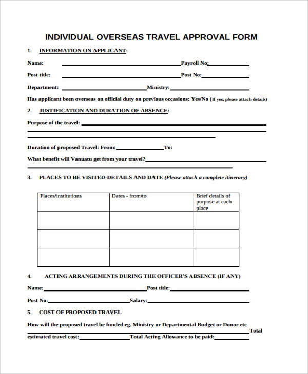 overseas travel approval form