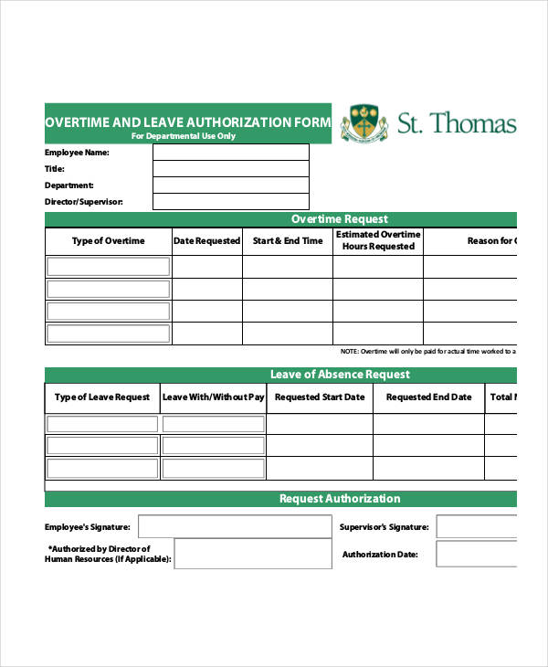Sample Leave Authorization Form - 14+ Free Documents In Word, Pdf