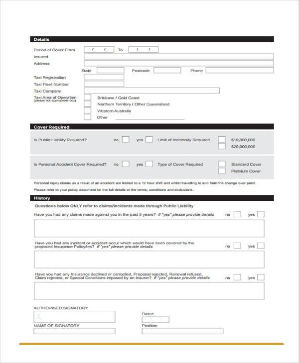 owner taxi proposal form