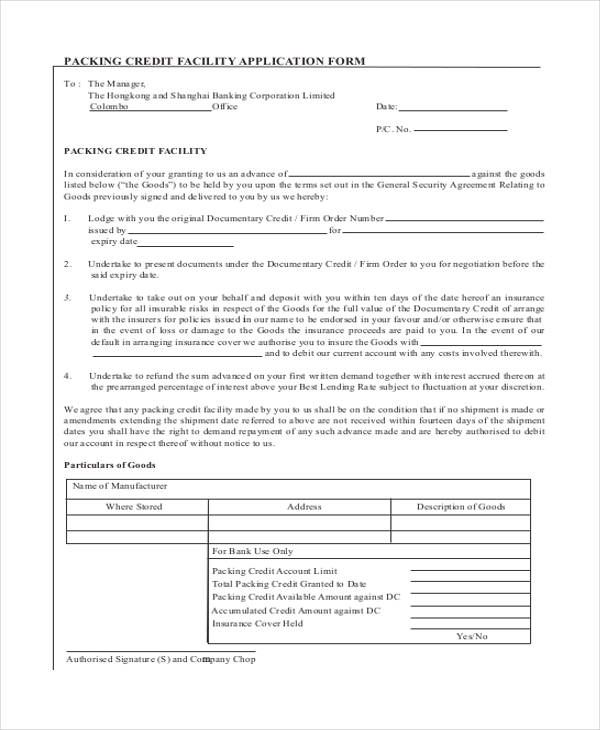 packing credit facilities application form