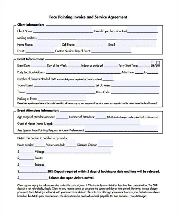 painting services agreement form