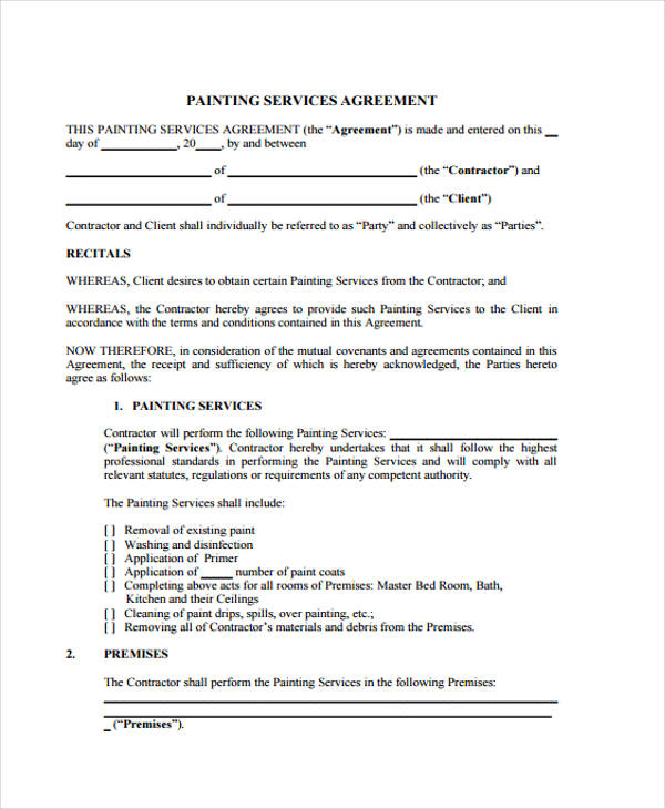 29 Free Contract Agreement Forms – Painting Contract