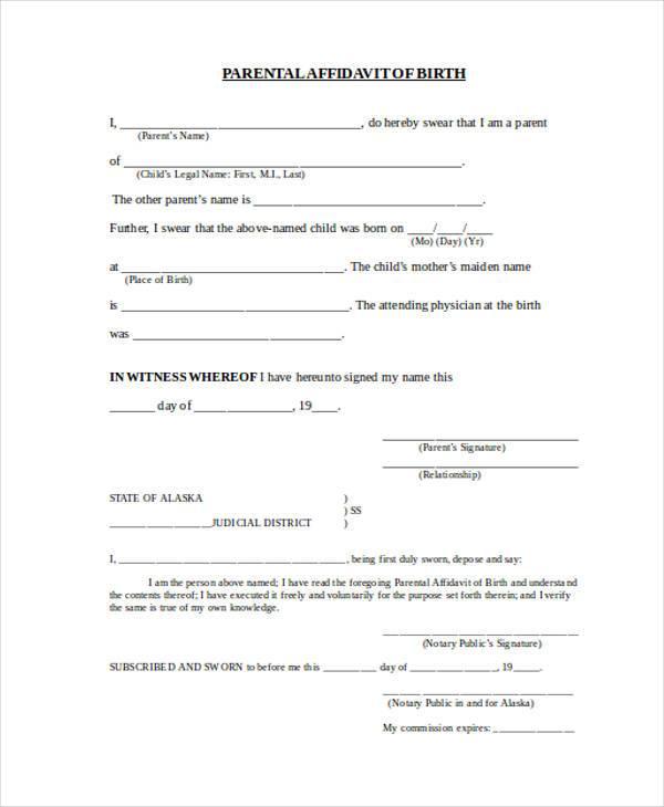 parent affidavit birth form