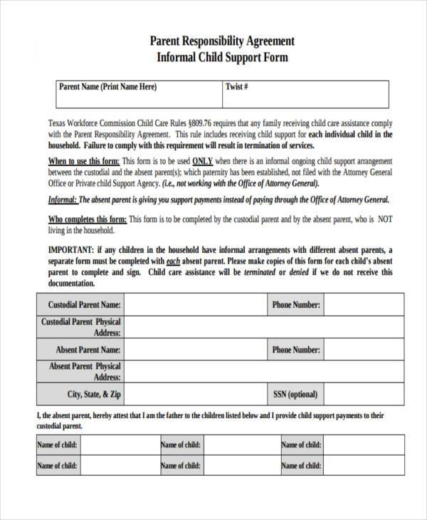 parent responsibility child support agreement form