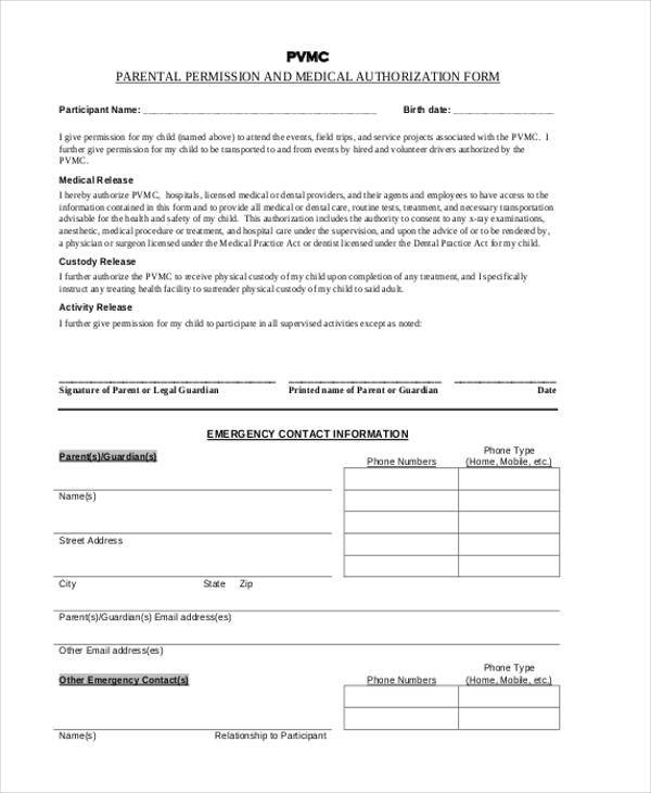 parental permission authorization form