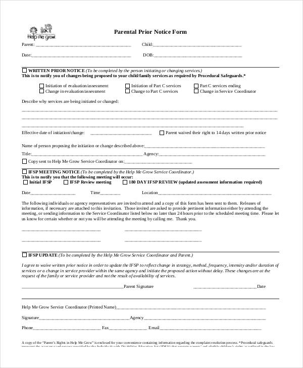 parental prior notice form1