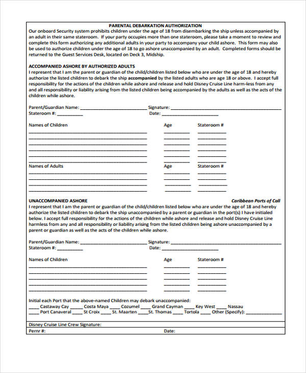 parental security authorization form