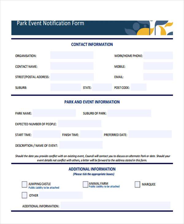 park event notification form1