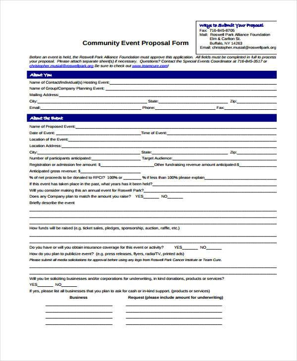 Event Proposal Form Samples  Free Sample Example Format Download