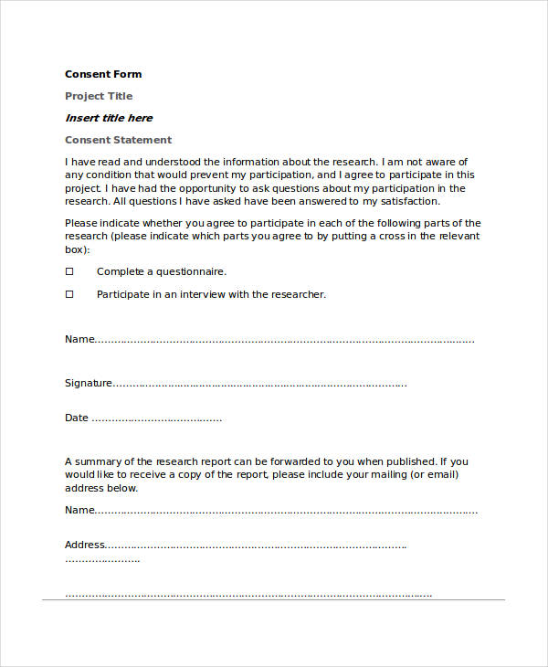 34 Consent Forms In Doc
