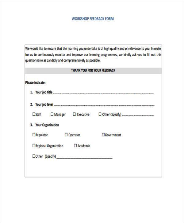 participant workshop feedback form