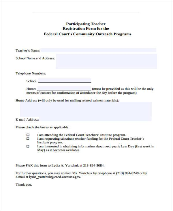 participating teacher registration form