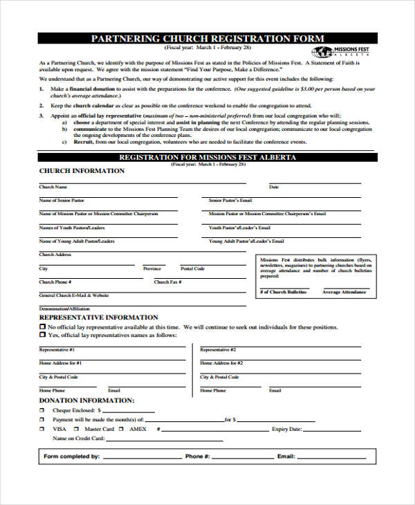 partnering church conference registration form