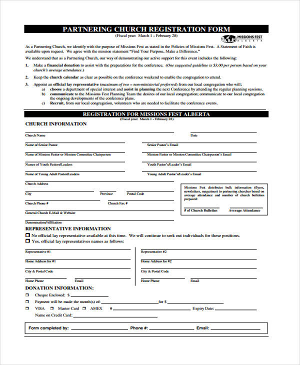 partnering church conference registration form1