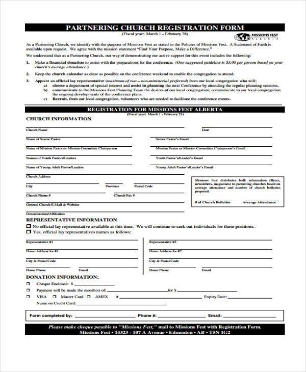 partnering church registration form