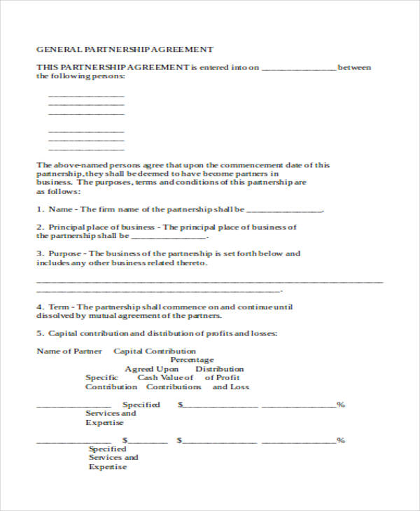 partnership business contract agreement form