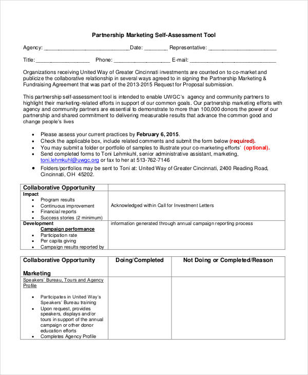 partnership marketing self assessment form