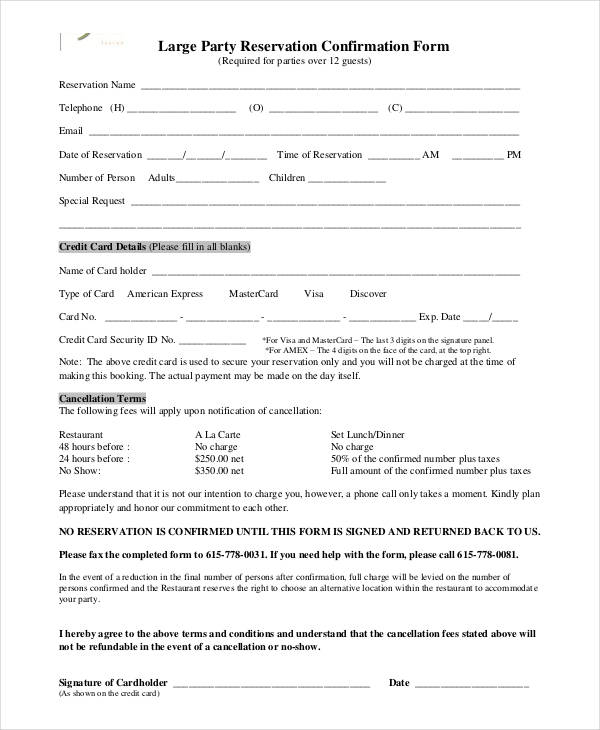 party reservation confirmation form