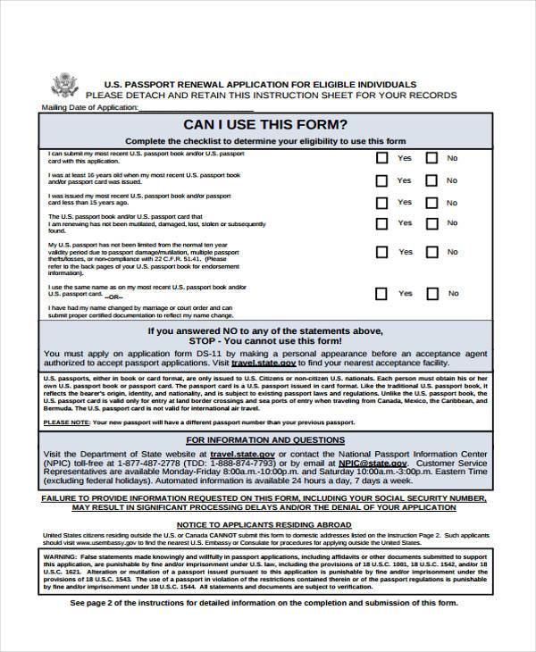 Application Forms Example Passport Renewal Form Passport Renewal