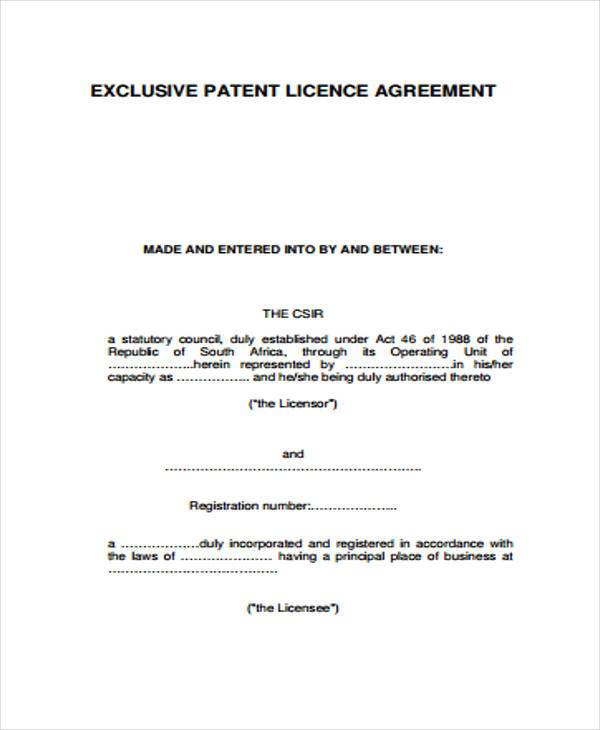 patent agreement form example