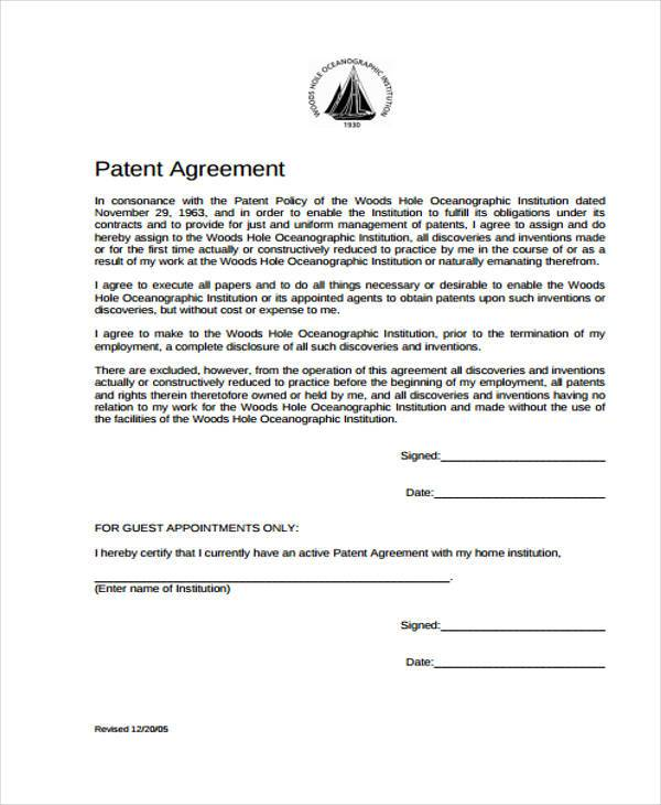 7+ Patent Agreement Form Samples - Free Sample, Example Format