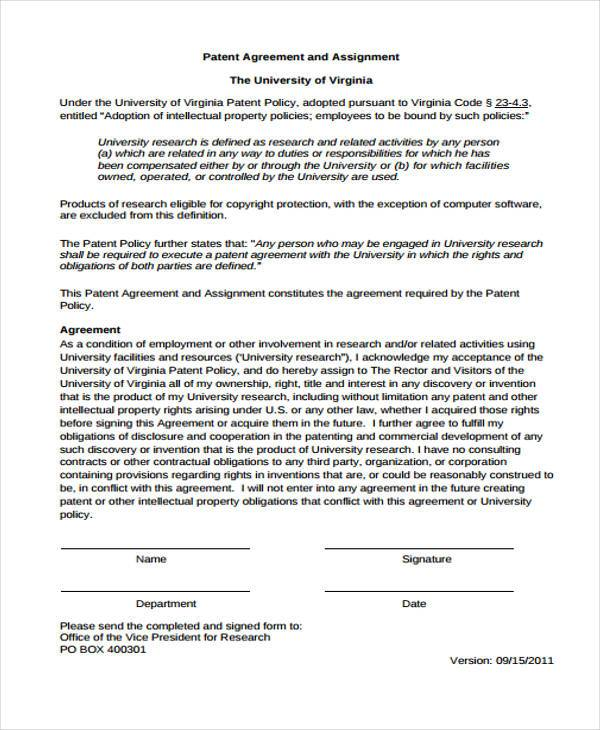 Patent Agreement Form Samples  Free Sample Example Format Download