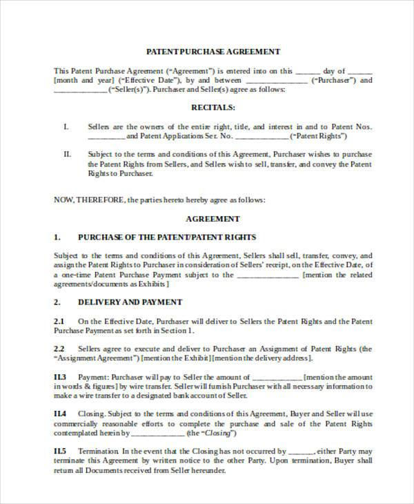 patent purchase agreement form1