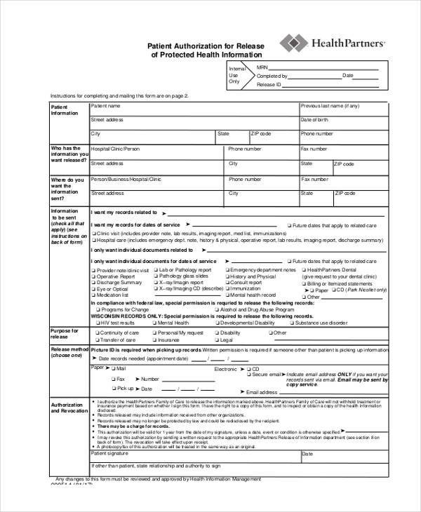 patient authorization information release form
