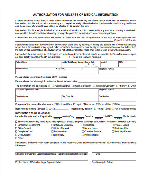 Patient Authorization Medical Information Release Form