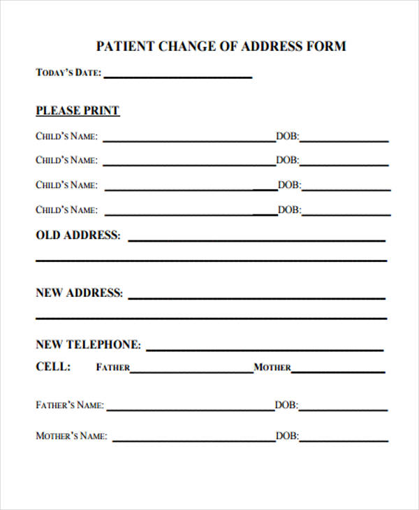 patient change of address form