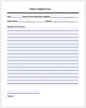 patient complaint form sample1