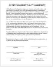 patient confidentiality agreement form example